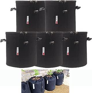 Growsun 10 Gallon 5 Bags Drawstring Lock-Top Grow Bag Plant Fabric Pots with Handles