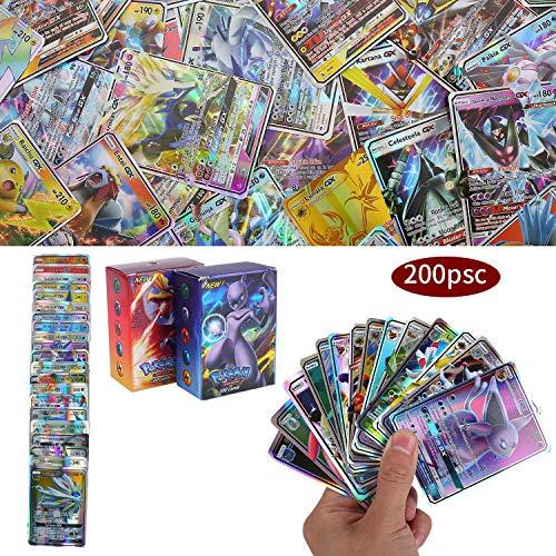 200 Piezas Pokemon Cartas, Cartas de Pokemon GX Trainer, Flash Cartas, Sun & Mood Series, Cartas Coleccionables (189GX + 11Trainer)