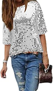 S-Fly Women's Casual Short Fit Loose Sequins Sleeve Round Neck Shirts
