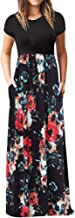 Chaofanjiancai Elegant Women's Maxi Dress Floral Printed Summer Short Sleeves Casual O-Neck Long Maxi Dress