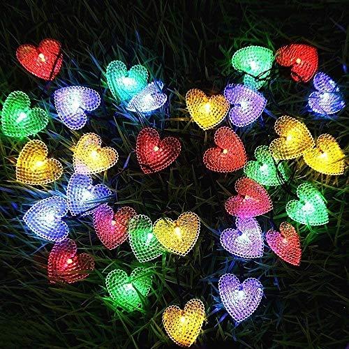 Solar-Lichterketten, 20ft 30LED Liebe Herzform wasserdichte Weihnachtssolar Starry Fee dekorative Leuchten mit 8 Modi for Halloween Garten Hochzeit Startseite Patio (Multicolor)