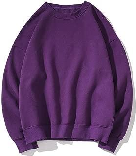Mogogo Mens Round Collar Junior Hip-hop Pullover Solid Colored Baggy Sweatshirts