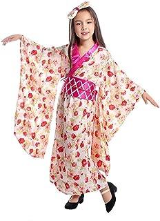Girls Japanese Kimono Dress Floral Pattern Yukata with OBI Belt Kids Geisha Cosplay Costume