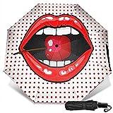 Mordiendo una Cereza Manual Plegable Triple Plegable Paraguas de Lluvia de Viaje Protección UV Fuerte Resistente al Viento