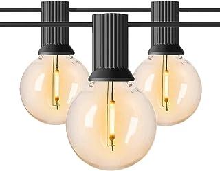 Guinguette Guirlande Lumineuse Extérieure 7.6M,AnTing 25Ft LED Chaîne de Lumières 12 Ampoules +1 Rechange E12 Base IP45 Ét...