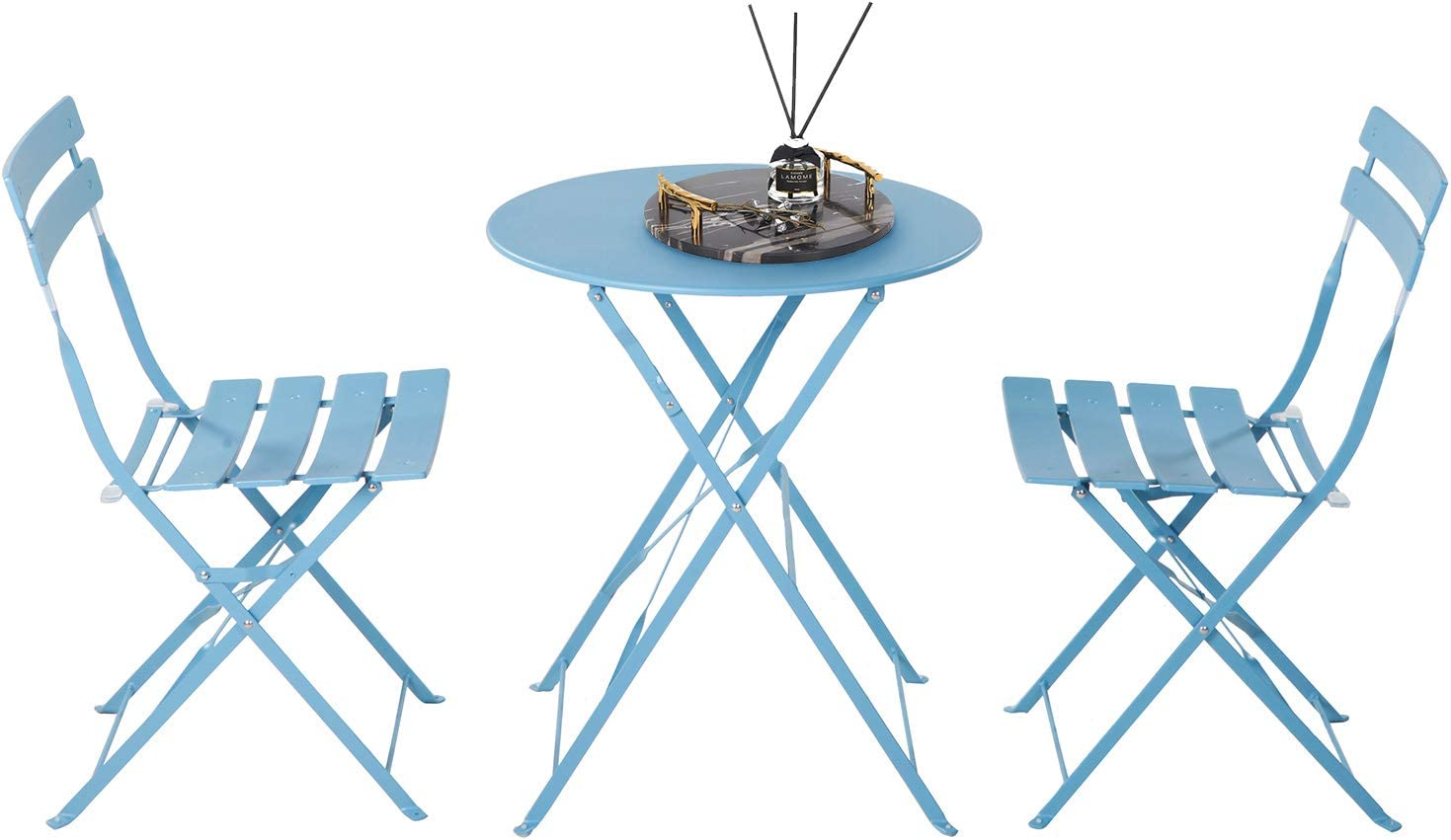 Buy Grand Patio 3pc Metal Folding Bistro Set 2 Chairs And 1 Table Weather Resistant Outdoor Indoor Conversation Set For Patio Yard Garden Blue Online In Indonesia B083tjwyvj