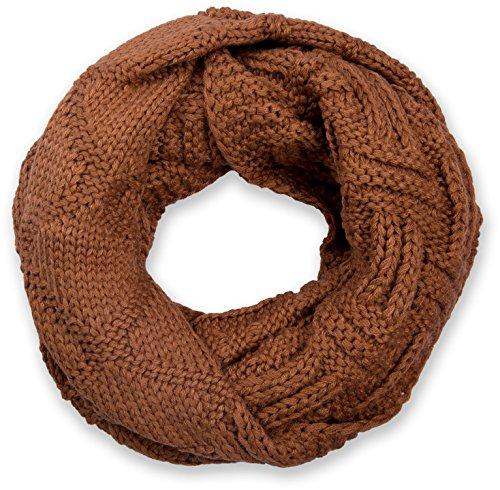 styleBREAKER gebreide lussen sjaal met raster en ribpatroon, effen gebreide buissjaal, winterse gebreide sjaal, uniseks 01018155