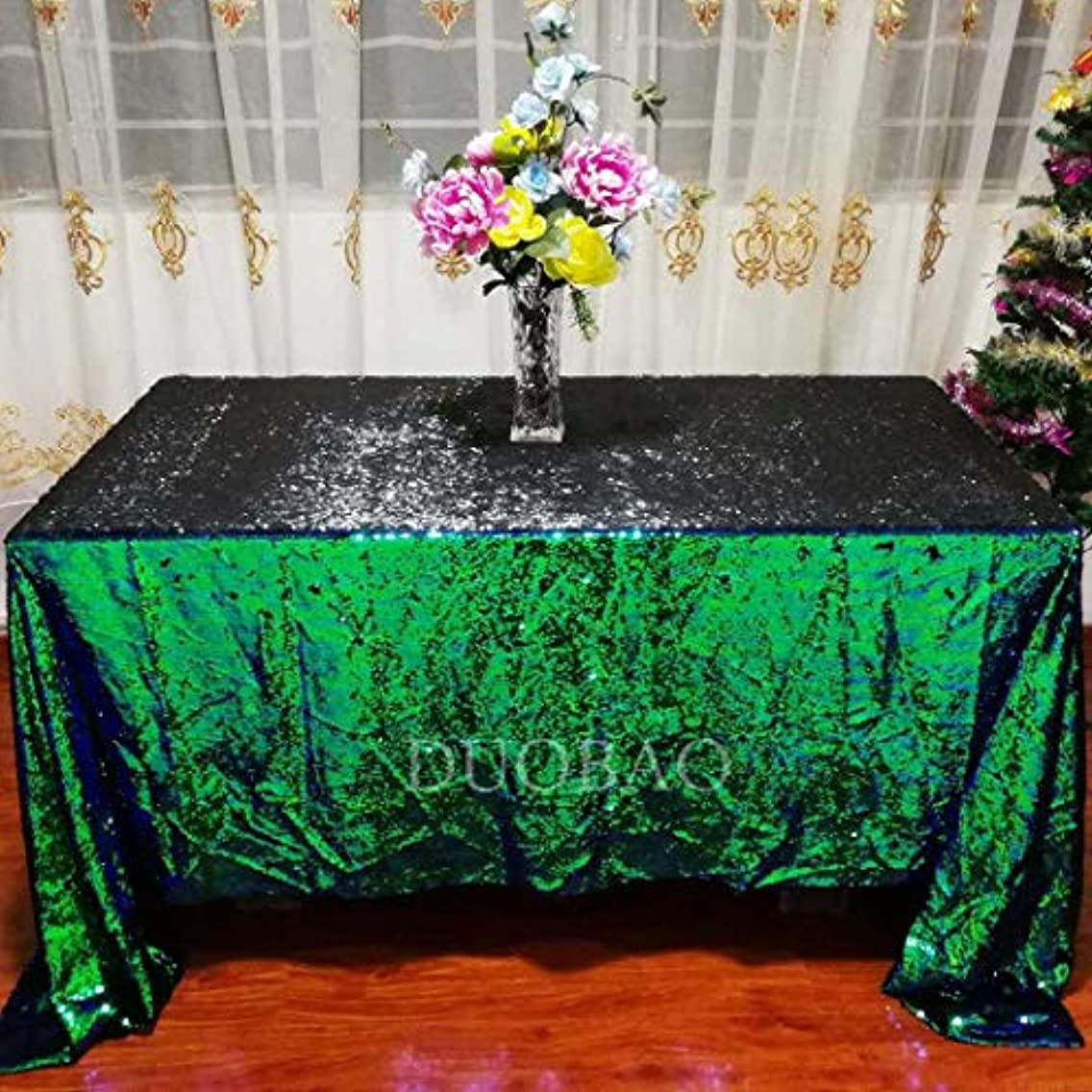 DUOBAO 72x72-Inch Mermaid Sequin Tablecloth Square Colorful Green to Black Sequence Tablecloth Table Cover Decorations for Party