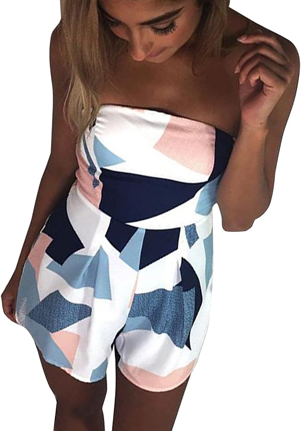 Yuandy Women Off Shoulder Jumpsuit Strapless Floral Print Striped Beach Shorts Rompers