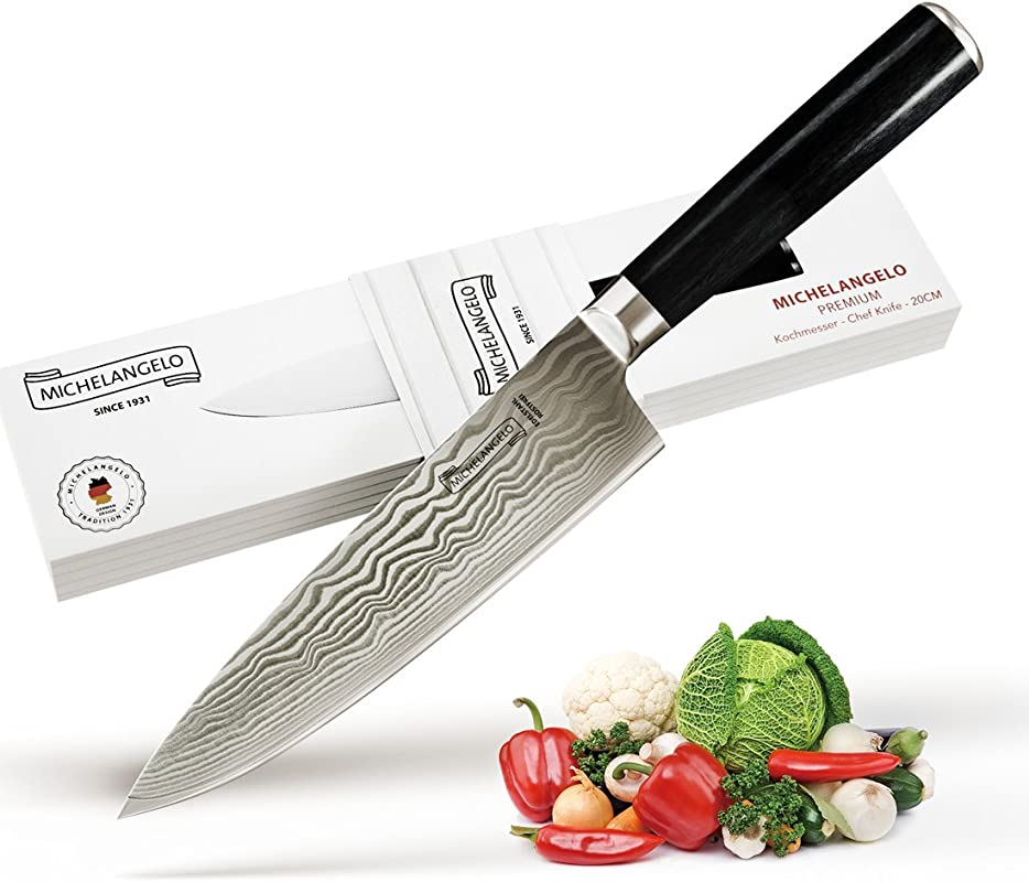 MICHELANGELO Top End Real Damascus Steel Chef Knife 8 Inch Japanese VG 10 Super Steel Hand Hammered 67 Layers Damascus Steel Knife Razor Sharp Blades Pakkawood Handle Damascus Chef Knife