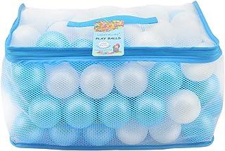 Lightaling 100個 ホワイト & ブルー オーシャンボール & ピットボール ソフトプラスチック フタル酸エステル& BPAフリー クラッシュプルーフ – 再利用可能で丈夫な収納メッシュバッグ ジッパー付き