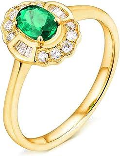 Daesar Anelli Donna Fidanzamento Oro Giallo 18K, Anello Smeraldo Donna 0.5ct Fiore Ovale Anelli Oro Matrimonio