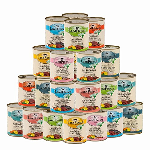 Landfleisch 30 x 800 g Pur Dosen | Nassfutter | aus 13 Sorten frei wählbar | + MIOMERA gratis Snack