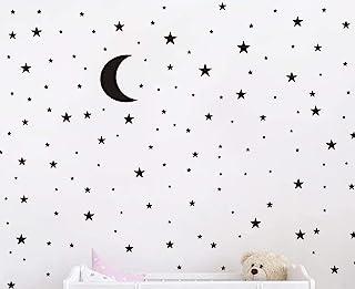(Black) - JOYRESIDE Moon and Stars Wall Decal Vinyl Sticker For Kids Boy Girls Baby Room Decoration Good Night Nursery Wal...