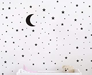 Moon and Stars Wall Decal Vinyl Sticker For Kids Boy Girls Baby Room Decoration Good Night Nursery Wall Decor Home House Bedroom Design YMX16 (Black)