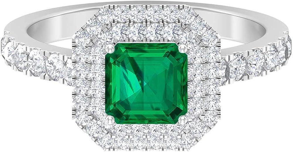 6 MM Asscher Cut Green D-VSSI Double Moissanite free shipping Ring Tourmaline mart