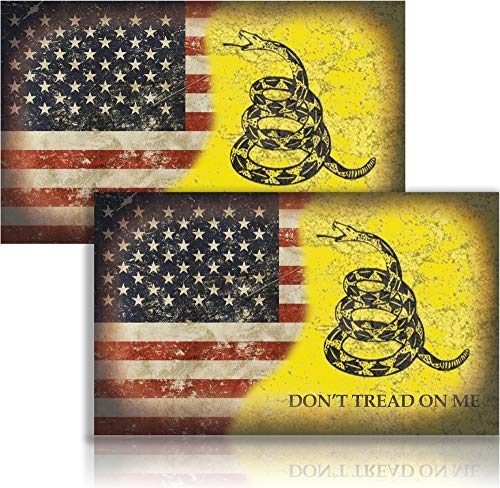 Narrow Minded Dont Tread On Me 5' x 3' American Flag Sticker United States Marines Army Navy Airforce Laminated Decal (2 Pack)