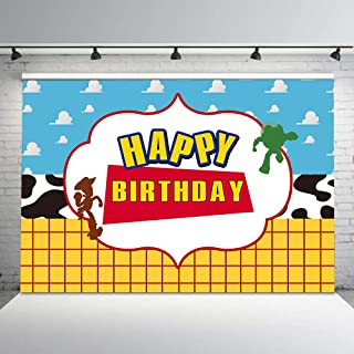 Cartoon Happy Birthday Backdrops for Toy Story Theme Birthday Party 7x5ft White Cloud Cow Print Cowboy Photo Background Decorations Cake Table Banner ZYVV0488