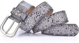 Fashion New Cool Rivet Ladies Waist Bandwidth Wild Jeans Belt Belt Candys house (Color : Grey, Size : 110cm)