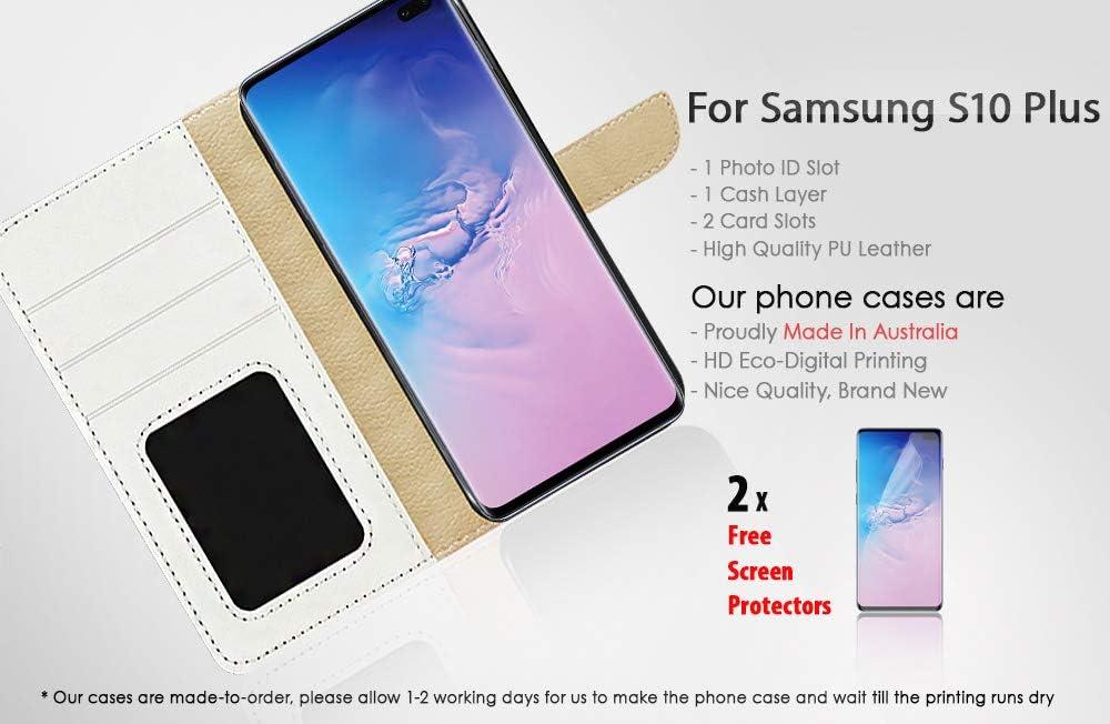 (for Samsung S10+ / Galaxy S10 Plus) Flip Wallet Case Cover & Screen Protector Bundle - A20325 Sugar Skull Skeleton