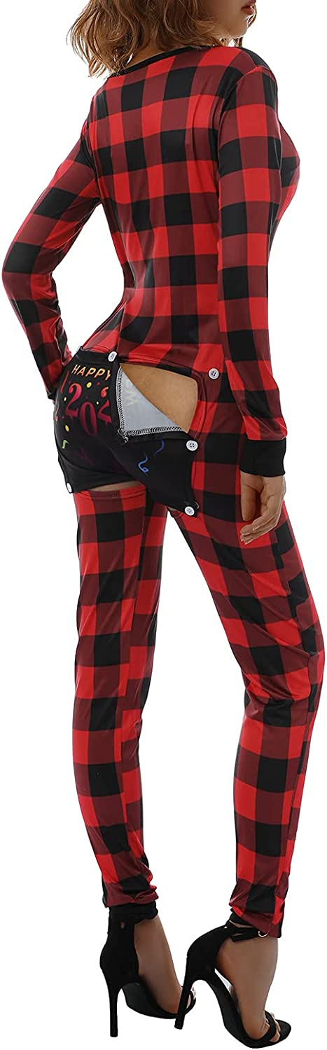 Women Spasm price Buffalo Plaid V Neck One P Butt Inventory cleanup selling sale Onesie Jumpsuit Piece Flap