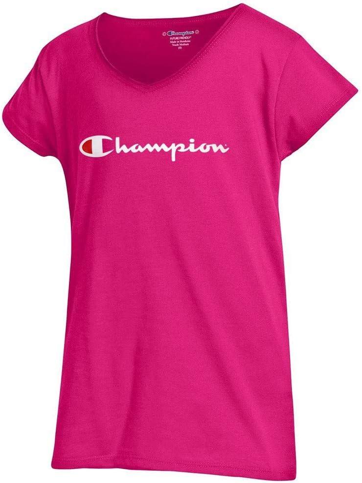 Champion Script Logo Girls Youth (Knockout Pink) Powder Puff V-Neck T-Shirt