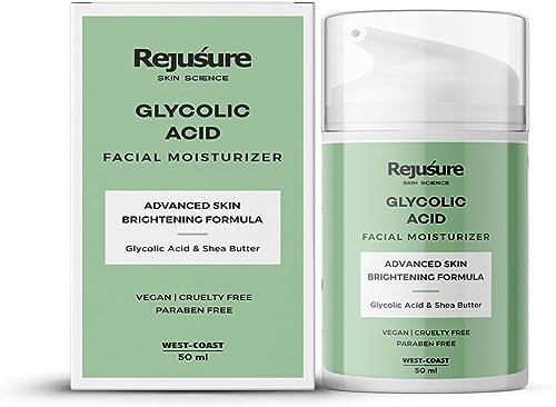 Rejusure Glycolic Acid Moisturiser Reduces Pigmentation Dark Spots Acne Cream for Face 50 ml