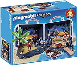 Features a treasure island with pier Comes with a treasure chest full of gold, a firing cannon and a row boat Convenient carry handle for easy transportation Includes two Playmobil pirates and lots of accessories Carry along, play and store away