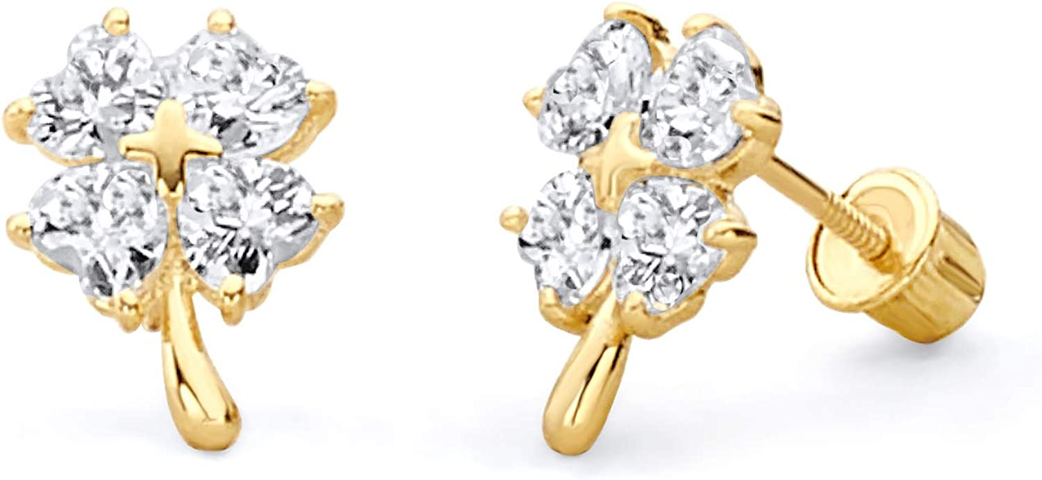 Wellingsale 14K Yellow Gold Polished Clover Stud Earrings With Screw Back