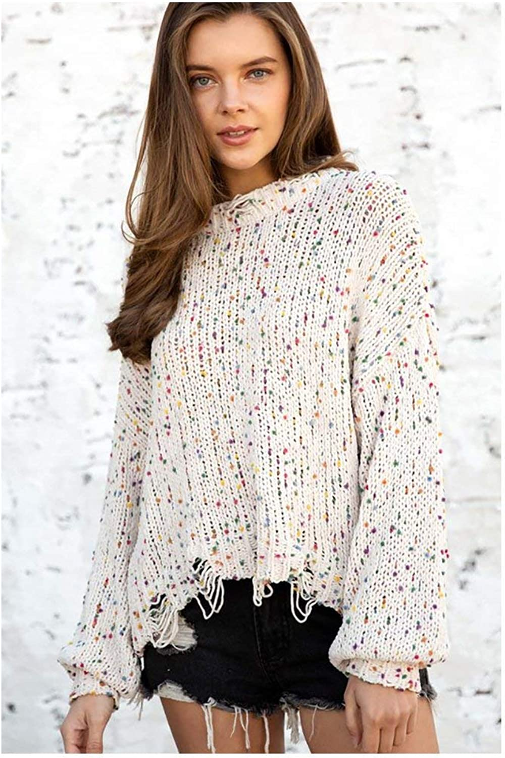Bellanbluee color Dotted Distressed Knit Sweater