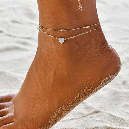 Yean Love Anklet Bracciale a forma di cuore con cavigliera Moda perline Catena a piede d'argento per donne e ragazze