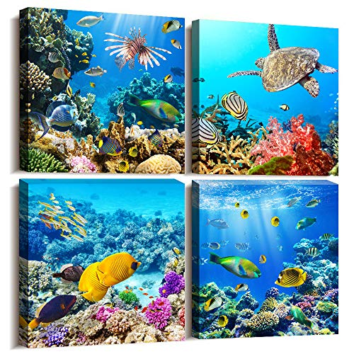Bathroom Wall Decor Canvas wall art for living room Coral and Fish Modern Home Decor 4 Panels Stretched and Framed Ready to Hang blue Ocean Theme Sea Fish and sea Turtles undersea world Canvas Prints