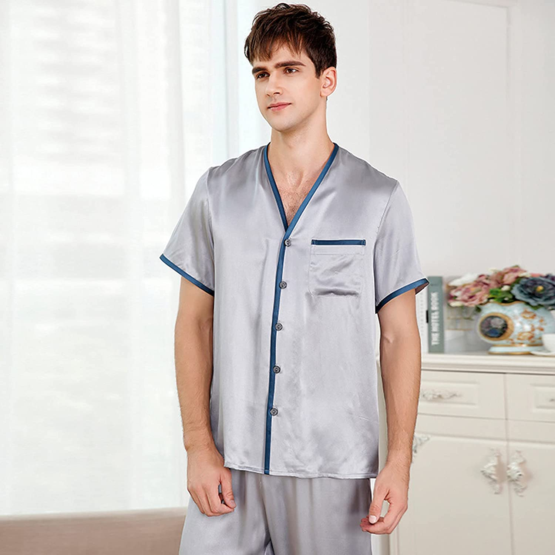 Dallas Mall 2021 Summer Men's 100% Silk Pajama Gray Pajamas Piece Set Paja 2 Max 90% OFF
