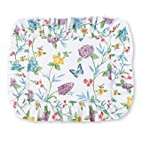 Collections Etc Butterfly Joy Floral Ruffle Plisse Bed Pillow Sham Set - Includes 2 (Two)