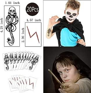Konsait 20Sheets Death Eater Tattoos,Lightning Bolt Scar Temporary Tattoos,Halloween Dark Mark Mamba Skull Snake Fake temporary Tattoos Sticker for Halloween Cosplay Costume Party Favors Supplies Gift