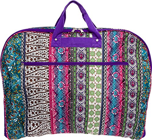 40' Womens Hanging Garment Bag (Multicolor Boho w/Purple Trim)