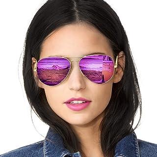 SODQW Gafas de Sol Aviador Polarizadas Mujer Espejo Marca Clásico Metal Marco 100% UVA/UVB Protección