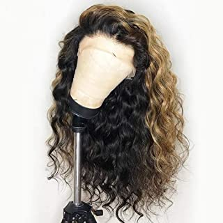 LIMEIER 130% Density Curly Wavy Lace Front Human Hair Wigs Ombre Blonde Glueless Lace Front Wig Preplucked Honey Blonde Remy Glueless Wig With Baby Hair (18 inch 130% density)