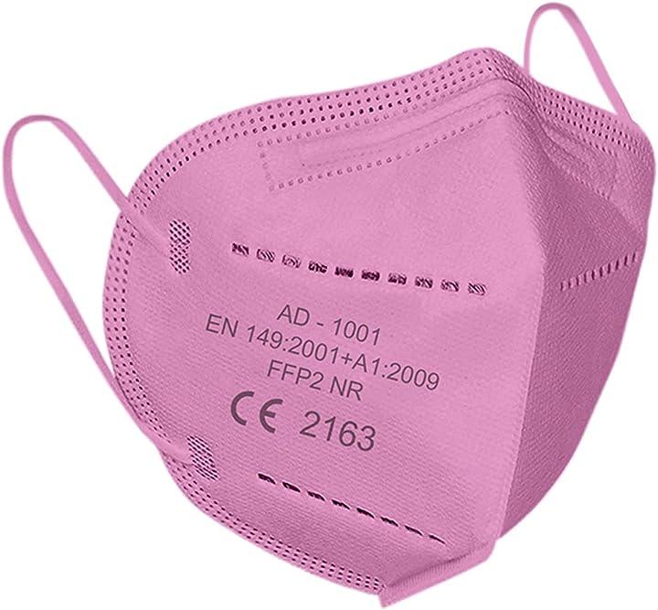 Mascherine ffp2 certificate ce en149:2001+a1:2009 eu 2016/42- 20 pezzi colore rosa