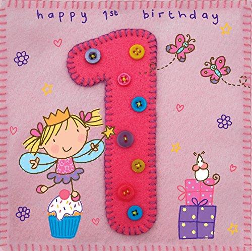 Twizler Karte zum 1. Geburtstag für Mädchen, mit Fee, Prinzessin und Schmetterlingen, ideal für den Kindergeburtstag