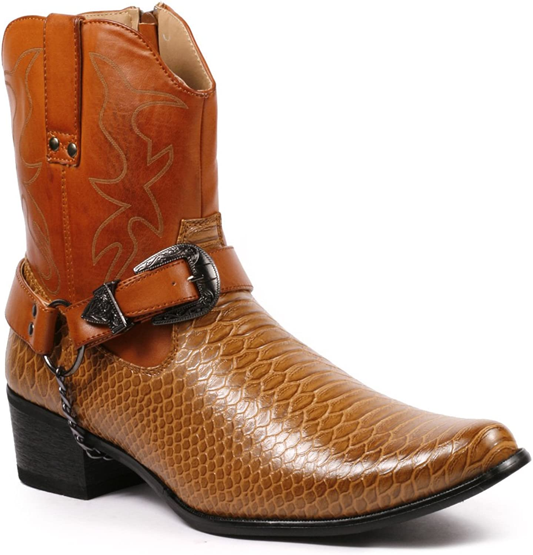 Metrocharm Diego-01 Men's Belt Buckle Chain Strap Western Cowboy Boots (7.5, Brown)