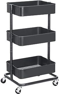 SONGMICS Wózek na kółkach z 3 poziomami, wózek do przechowywania, regał kuchenny z kółkami, półki z regulacją wysokości, w...