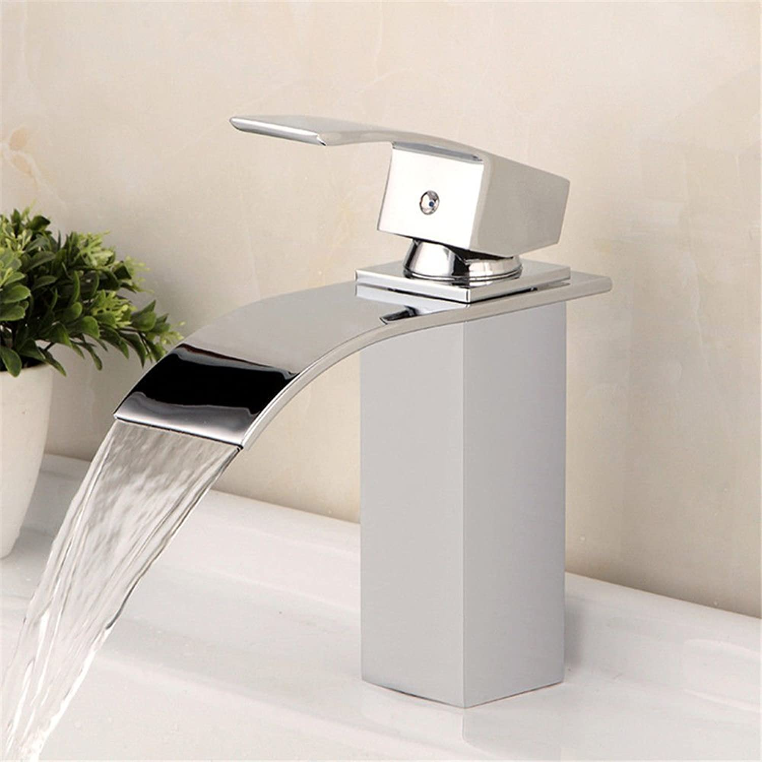 SADASD Modern Bathroom Basin Faucet Copper Sifang Fine Waterfall Washbasin Sink Taps Ceramic Valve Single Hole Single Handle Hot and Cold Mixer Tap With G1 2 Hose