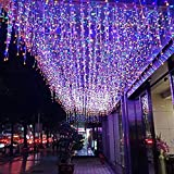 FTON LED Icicle Lights, 16.4FT 216 LEDs Fairy String Lights Plug in Extendable Curtain 8 Modes Decorative Wave Twinkle Christmas Lights for Shopping Mall Hotel Bar Yard Wedding(Multicolor,5M)