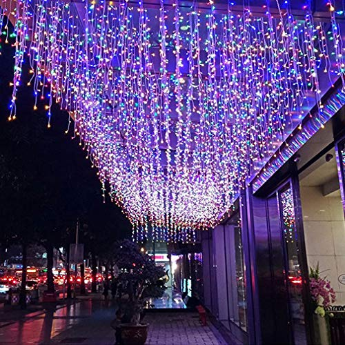 FTON LED Icicle Lights, 13FT 96 LEDs Fairy String Lights Plug in Extendable Curtain 8 Modes Decorative Wave Twinkle Christmas Lights for Shopping Mall Hotel Bar Yard Wedding(Multicolor,4M)