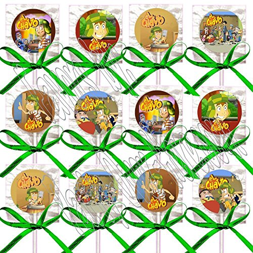 El Chavo Party Favors Decorations Mexican TV Sitcom Lollipop Suckers w/ Green Bows Party Favors -12 pcs