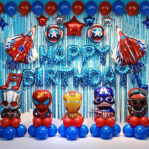 Superhelden Geburtstag Partei Dekoration Set Kinder Party Party Dekoration Lieferungen Geburtstags Luftballons für Ihre Kinder Thema Partei Bevorzugung (Blau)