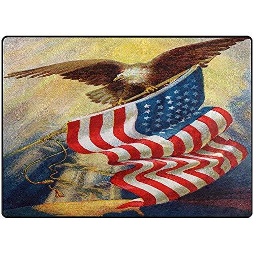 D-M-L Teppich Teppich Ölgemälde Flagge Adler Weiche rutschfeste Läufer Matte, Innen/Schlafzimmer/Wohnen/Essen/Küche Fußmatten, Florhöhe, Rechteckig 40X60CM
