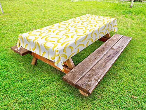 Ambesonne Yellow and White Outdoor Tablecloth, Cartoon Style Bananas Pattern Exotic Fresh Ripe Fruit Healthy Tropical, Decorative Washable Picnic Table Cloth, 58' X 84', White Mustard