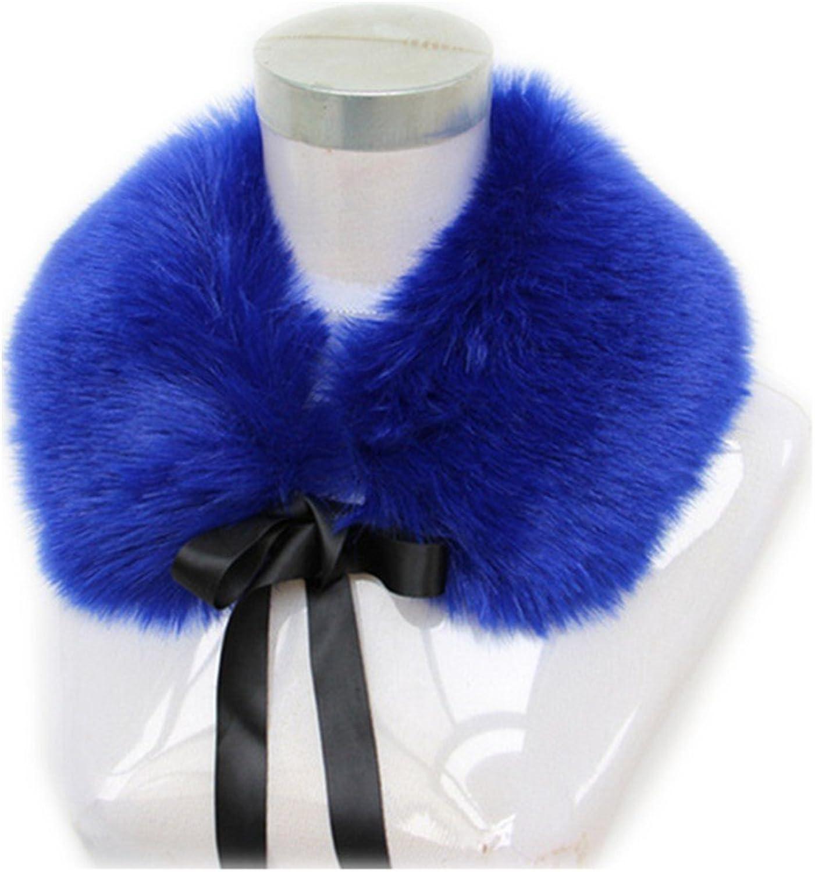 Gegefur Faux Fur Scarf Women New Autumn Winter Warm Scarves Faux Rabbit Fur Flower Silk Ribbon Collar Wrap Scarves